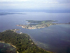 Aerial view of Isla Colon and Bocas del Toro